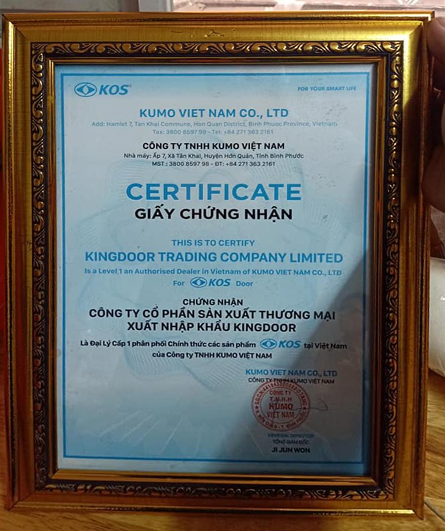 Chứng nhận đại lý cấp 1 của nhà máy KUMO về phân phối cửa nhựa ABS Hàn Quốc