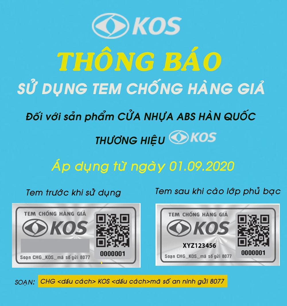 Cách kiểm tra cửa nhựa ABS thương hiệu KOS chính hãng