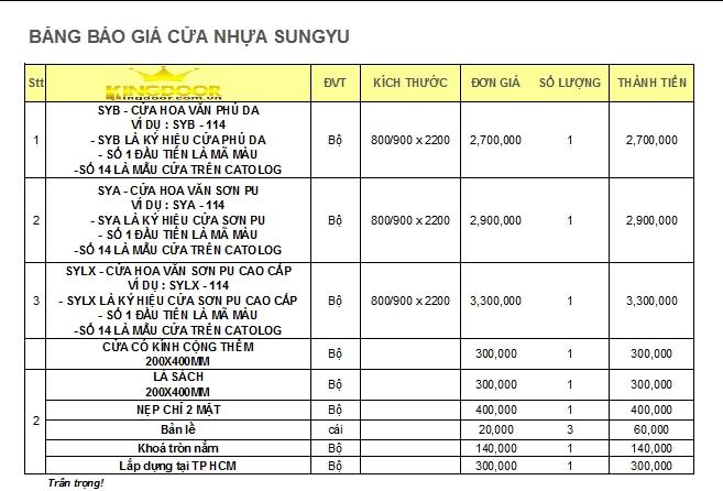 bảng báo giá cửa nhựa gỗ sungyu 2019