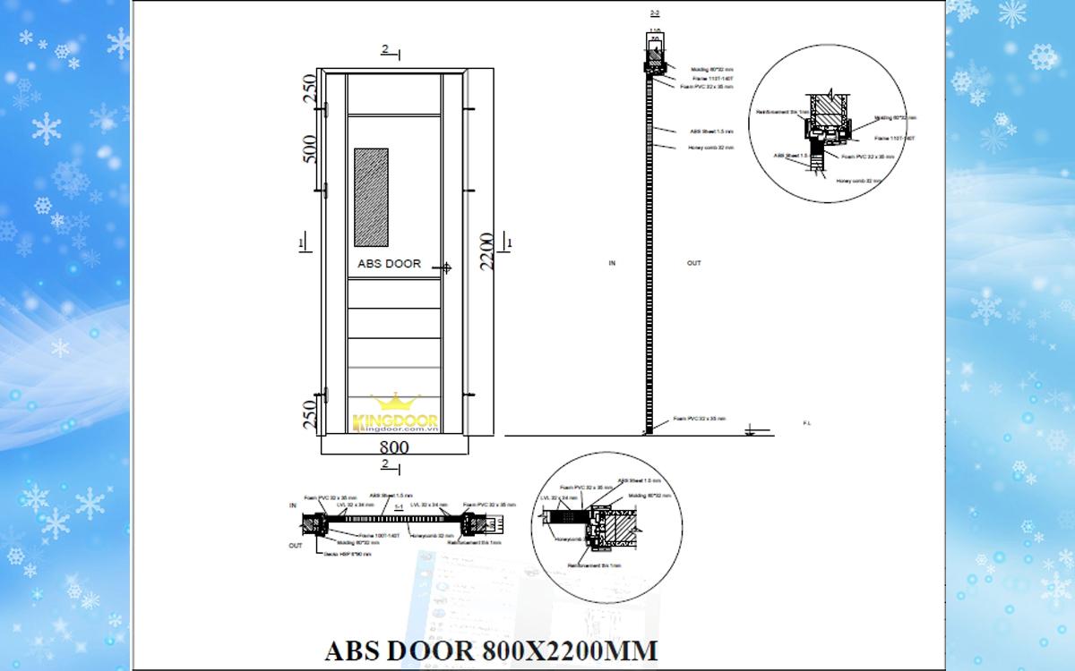 bản vẽ đầy đủ chi tiết cửa và khung bao