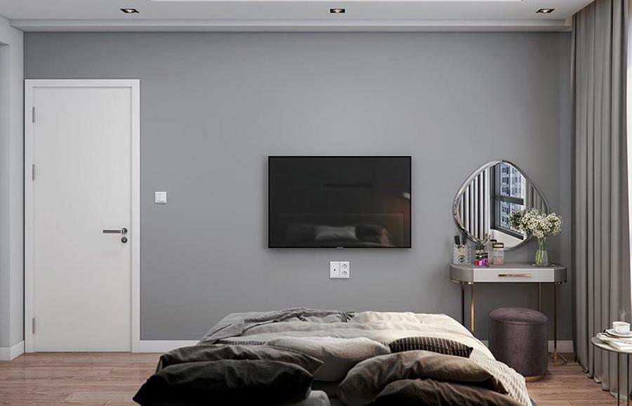Cửa nhựa dành cho phòng ngủ màu trắng mẫu phẳng