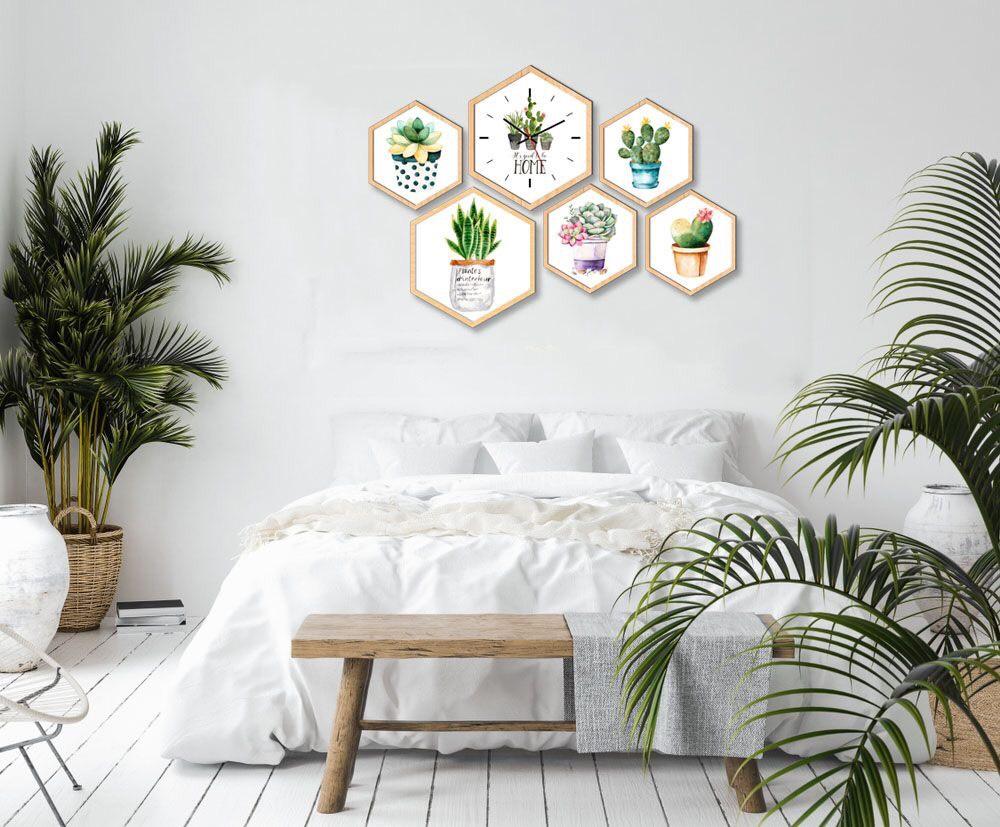 Màu trắng được bài trí trong phòng ngủ và cây xanh