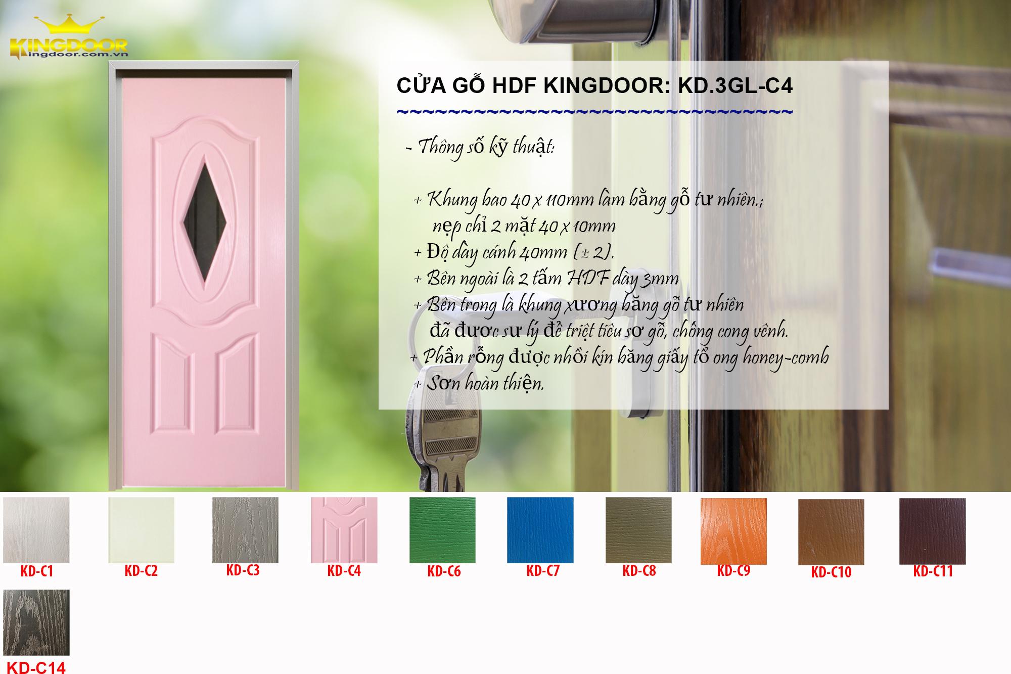 Cửa gỗ công nghiệp hdf mẫu 3GL-C4