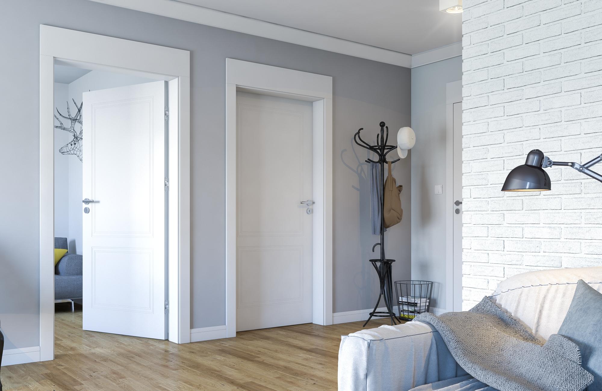 Nội thất phòng và cửa màu trắng