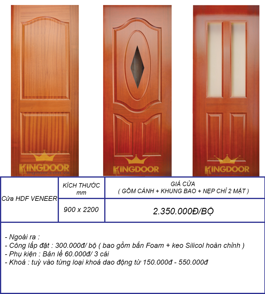 Bảng báo giá cửa gỗ HDF phủ veneer