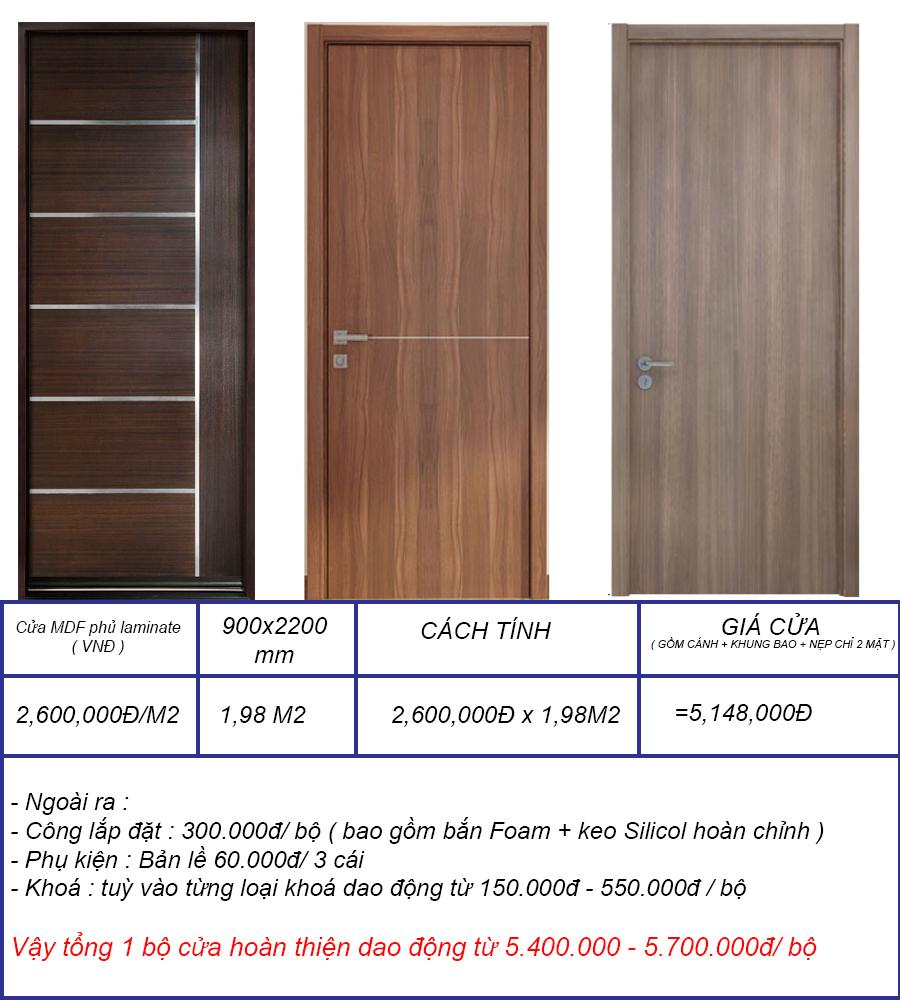 Bảng báo giá cửa gỗ MDF phủ Laminate