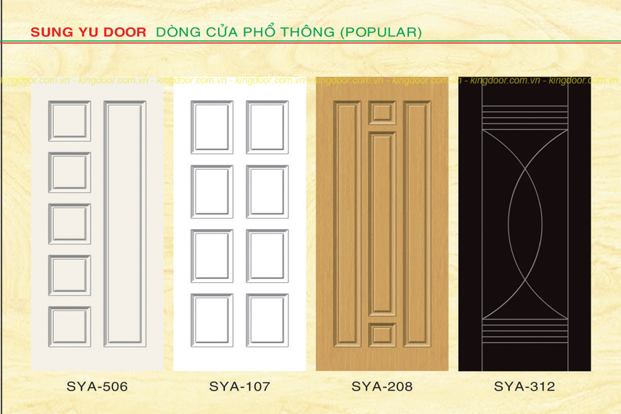 Cửa nhựa gỗ Composite dòng sơn SYA mẫu panol