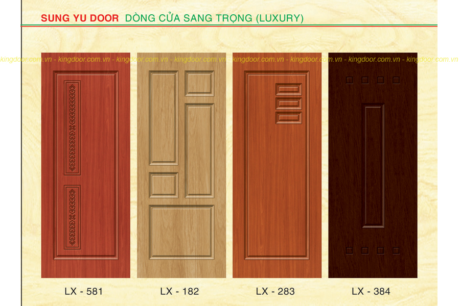 Cửa nhựa composite LX sơn vân gỗ cao cấp