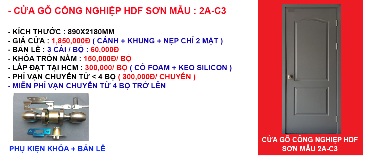 Báo giá cửa gỗ công nghiệp hdf mẫu 2A-C3