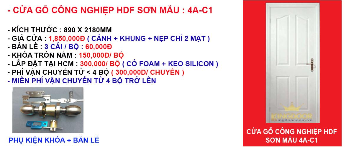 Báo giá cửa gỗ công nghiệp hdf mẫu 4A-C1