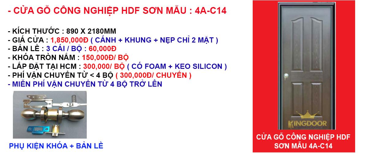 Báo giá cửa gỗ công nghiệp hdf mẫu 4A-C14