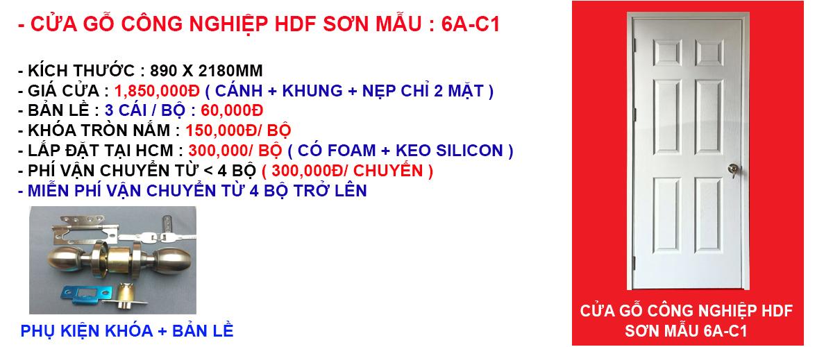 Báo giá cửa gỗ công nghiệp hdf mẫu 6A-C1