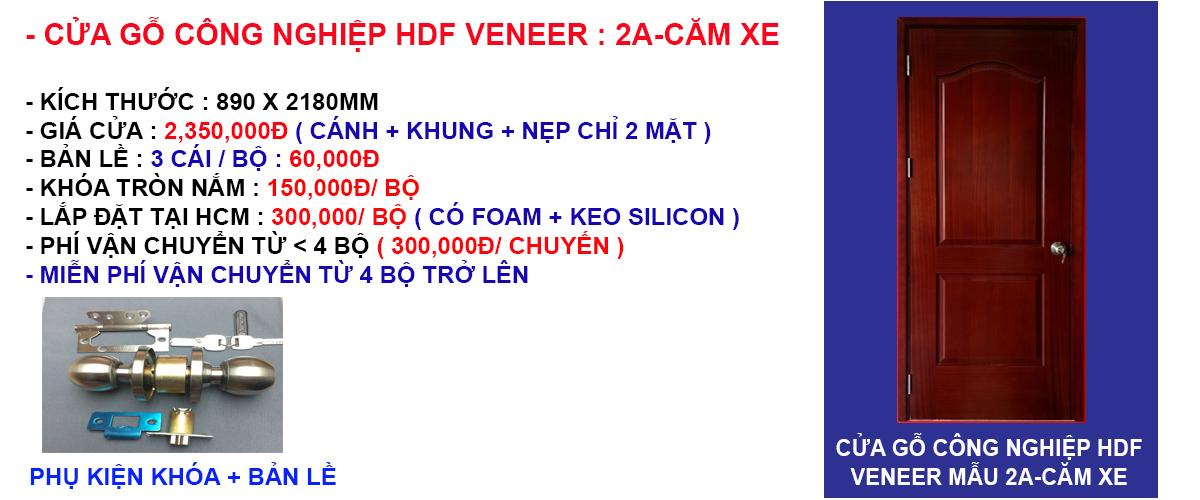 Báo giá cửa gỗ công nghiệp hdf veneer mẫu 2A-Căm Xe
