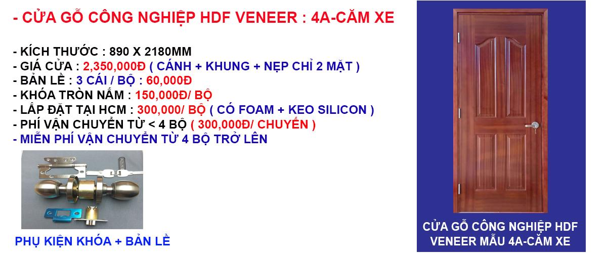 Báo giá cửa gỗ công nghiệp hdf veneer mẫu 4A-Căm xe