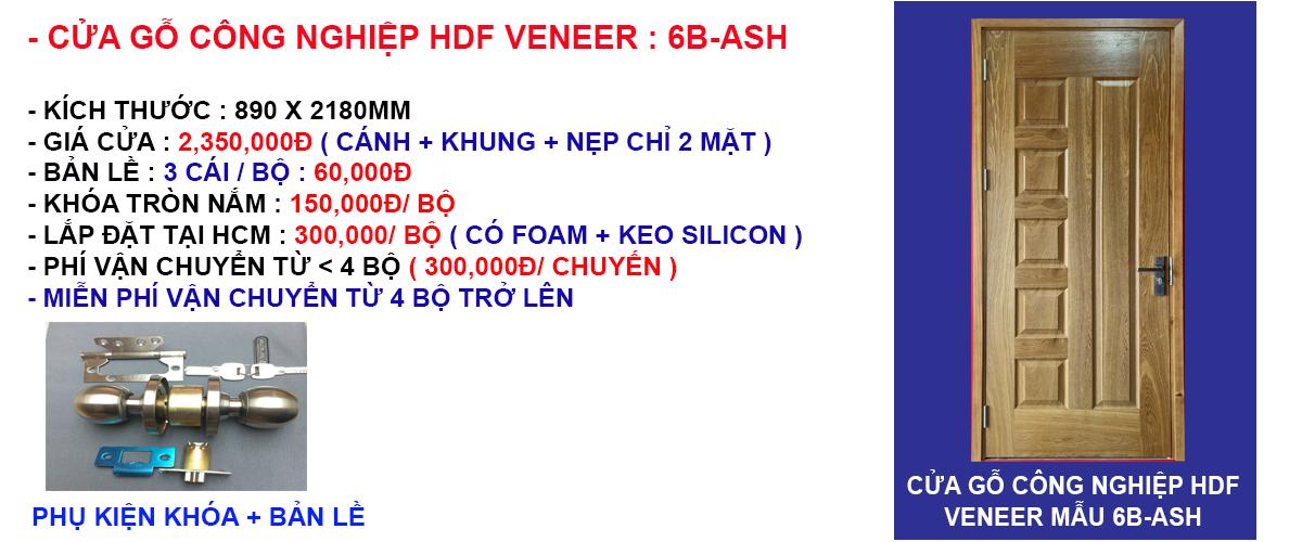 Báo giá cửa gỗ công nghiệp hdf veneer mẫu 6B-Ash
