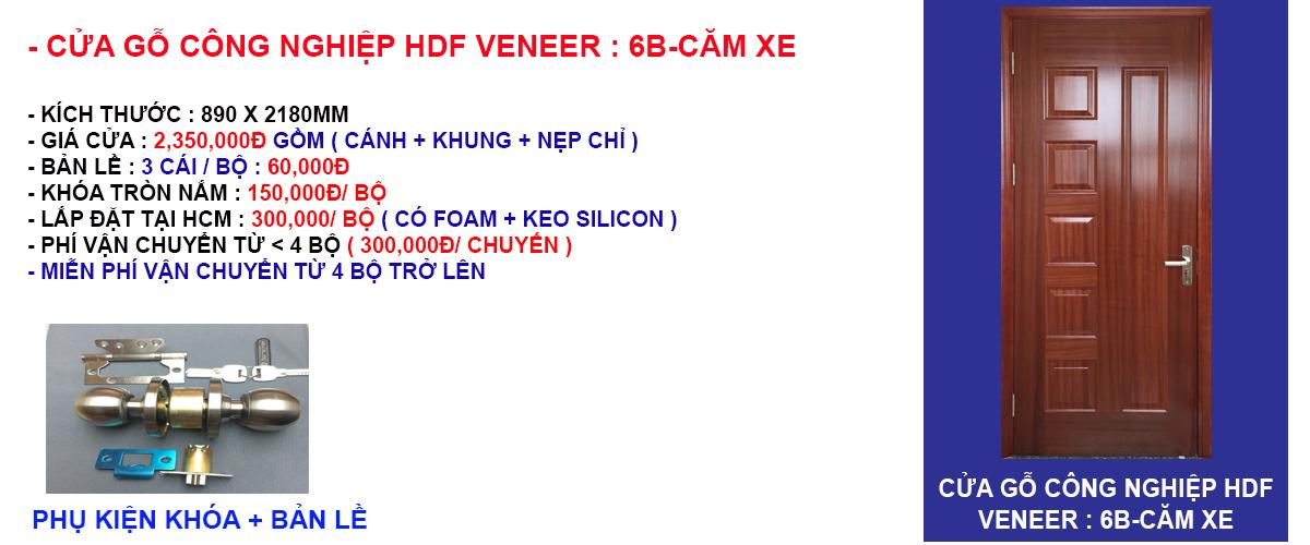 Báo giá cửa gỗ công nghiệp hdf veneer mẫu 6B-Căm xe