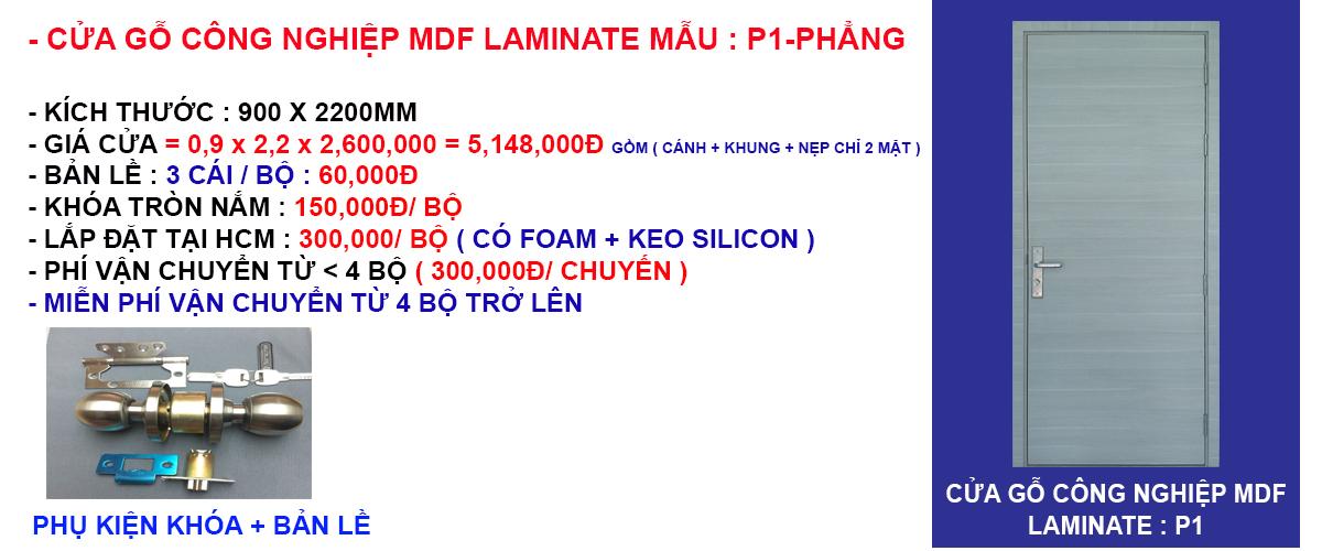 Báo giá cửa gỗ công nghiệp mdf laminate mẫu phẳng