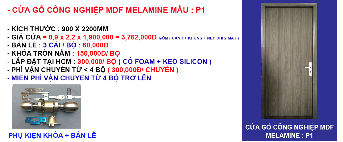 Báo giá cửa gỗ công nghiệp mdf melamine mẫu phẳng P1