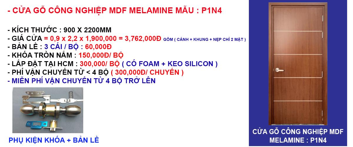 Báo giá cửa gỗ công nghiệp mdf melamine mẫu P1N4
