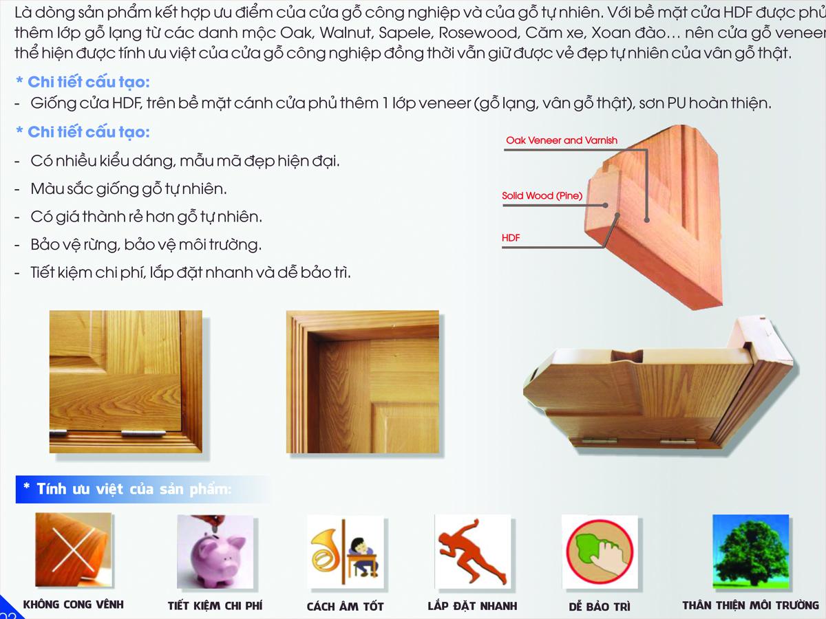 Cấu tạo cửa gỗ công nghiệp hdf veneer kingdoor 2020