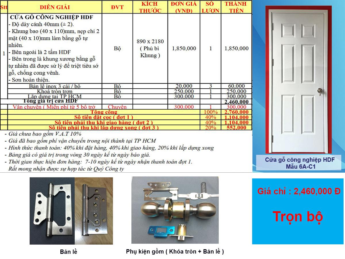 Bảng báo giá cửa gỗ công nghiệp hdf sơn