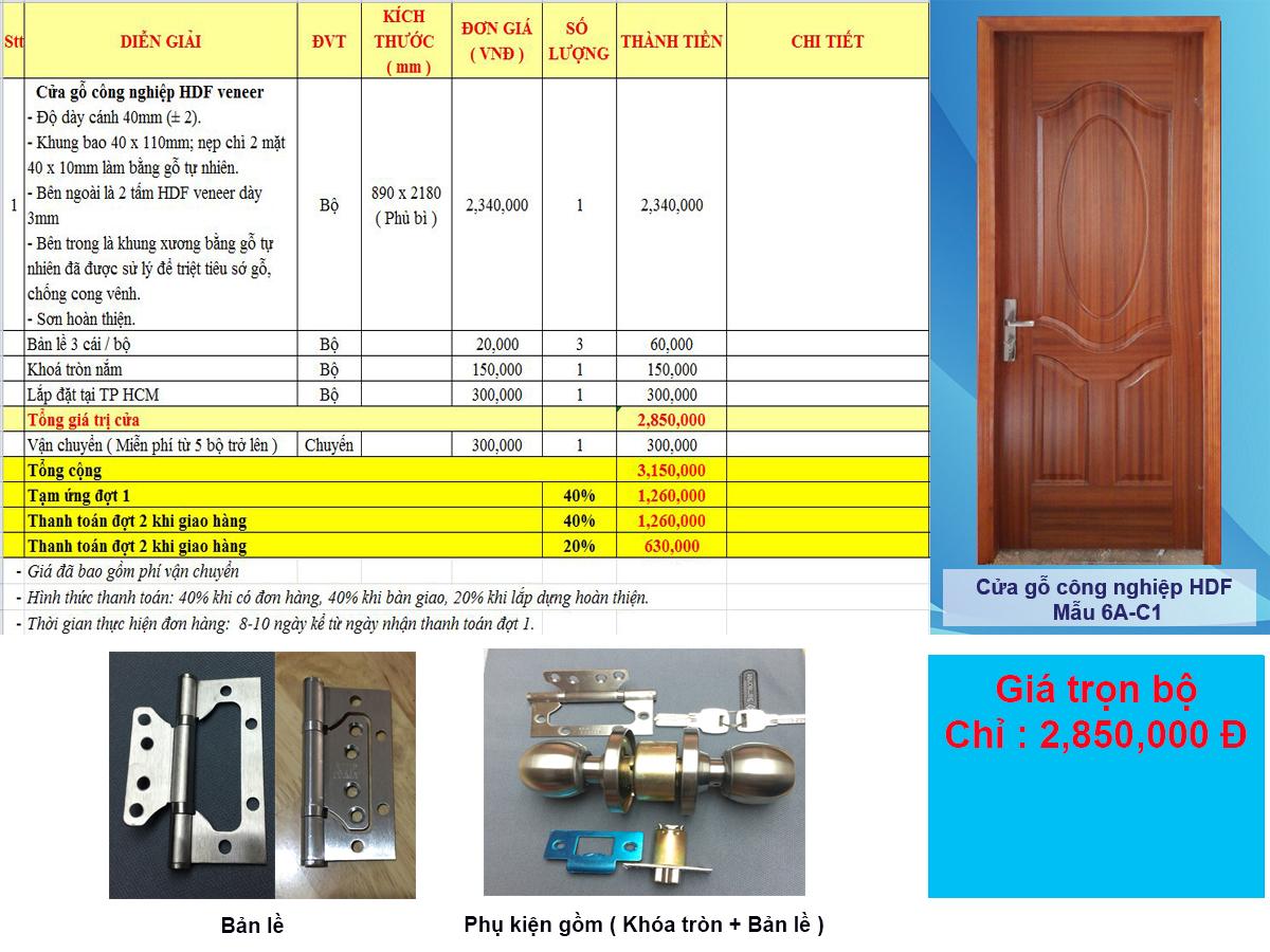 Bảng báo giá cửa gỗ công nghiệp HDF veneer có phụ kiện đính kèm
