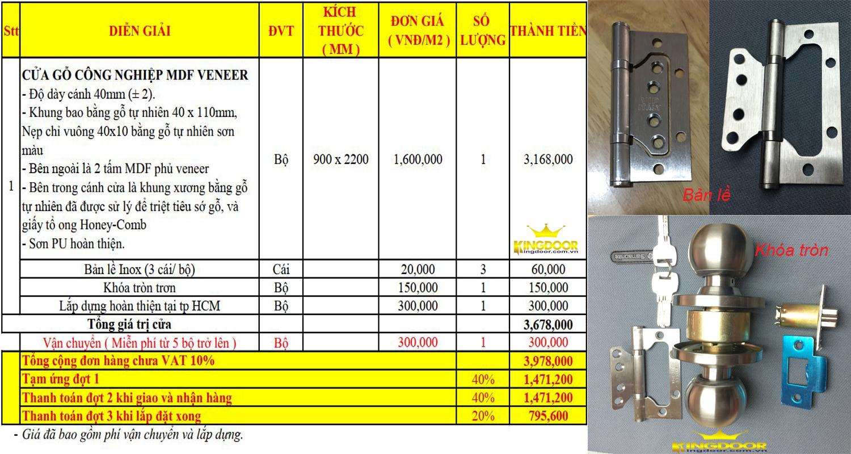 Báo giá cửa gỗ công nghiệp mdf veneer gồm phụ kiện -Kingdoor 2020