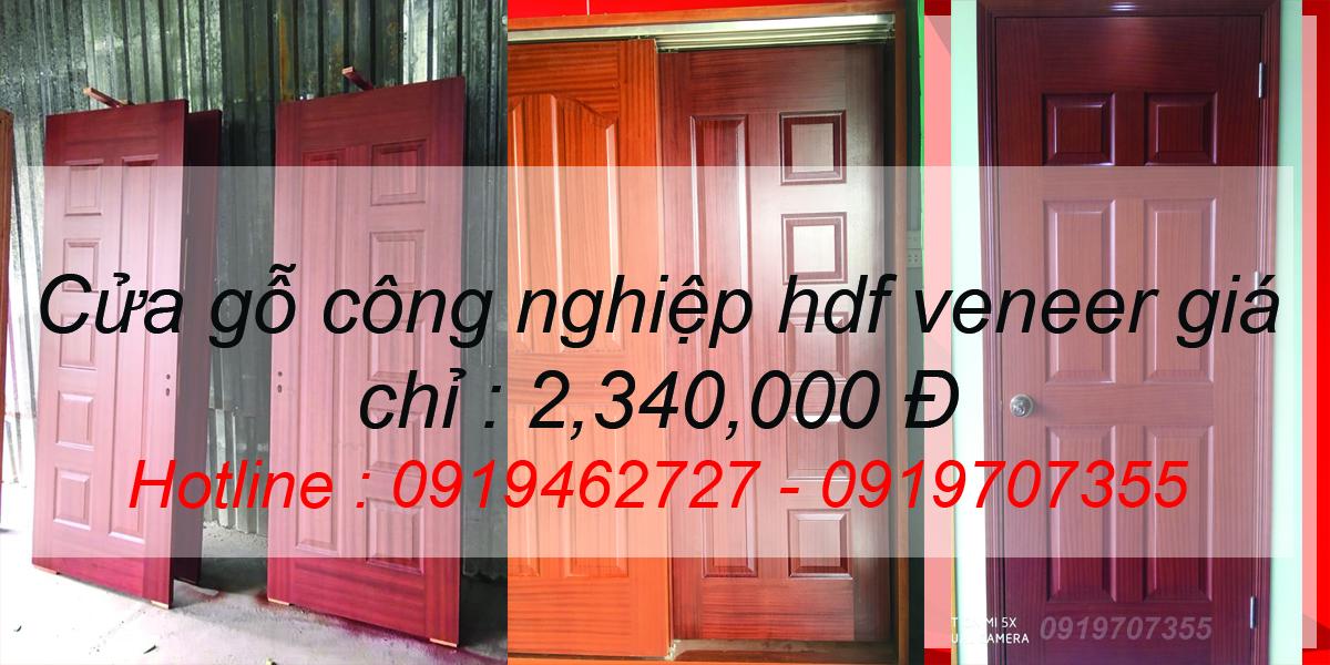 Cửa gỗ công nghiệp hdf veneer giá rẻ chỉ 2,340,000
