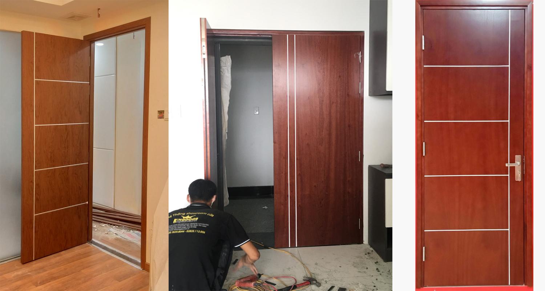Mấu cửa gỗ công nghiệp mdf veneer thực tế đã thi công