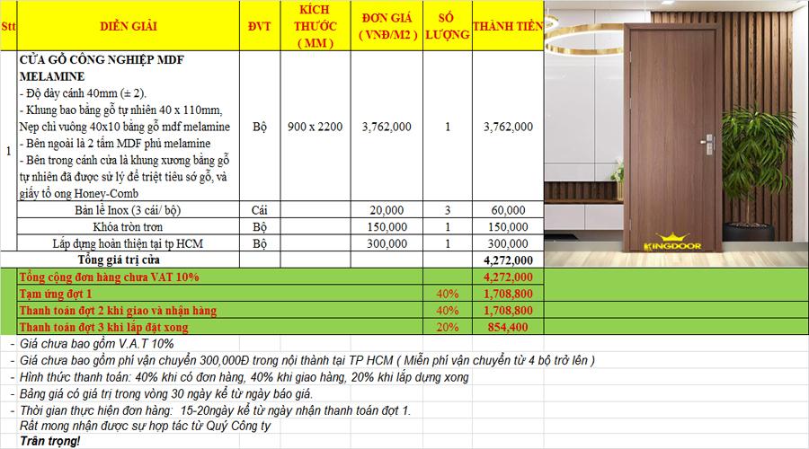 Giá cửa gỗ công nghiệp MDF phủ Melamine An Cường
