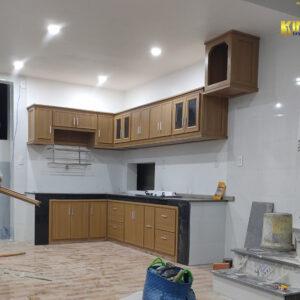 Hoàn thành tủ bếp giả gỗ Đài Loan cho khách hàng yên tâm sử dụng