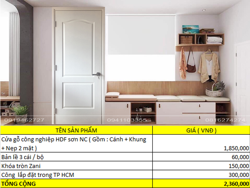 Báo giá cửa gỗ công nghiệp HDF sơn NC