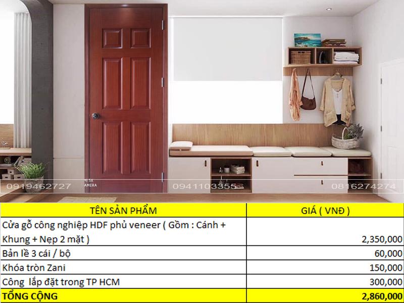 Báo giá cửa gỗ công nghiệp HDF phủ veneer