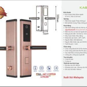 Khóa cửa thông minh Kassler KL-667 Copper
