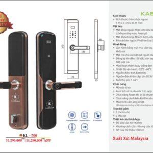 Khóa điện tử Kassler KL-700/ Mở Khóa Bằng APP Điện Thoại