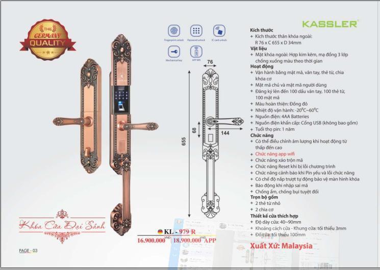 Khóa Vân Tay Tân Cổ Kassler KL-979 R